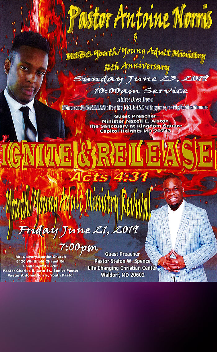 Mt. Calvary Baptist Church Youth Revival flyer